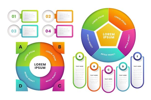 Infografía de diagrama circular degradado vector gratuito