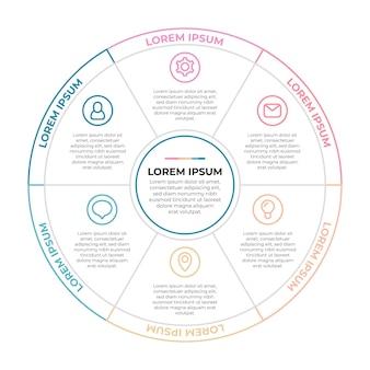 Infografía de diagrama circular plano lineal. vector gratuito