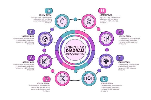 Infografía de diagrama circular plano lineal.