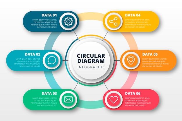 Infografía de diagrama circular plano