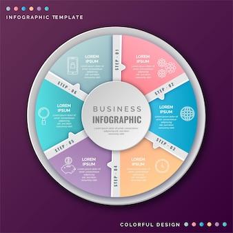 Infografía de diagrama circular realista