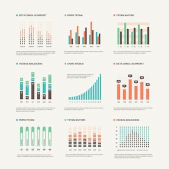 Infografía diagrama de marketing de diseño de flujo de trabajo. gráficos estadísticos e infocharts de acciones. conjunto de infografías abstractas