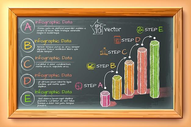 Infografía de dibujo digital con columnas hexagonales iconos de texto de cinco pasos en la pizarra en la ilustración de marco de madera