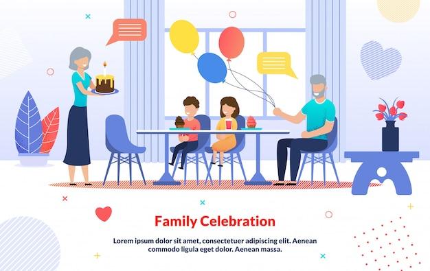 Infografía de dibujos animados de celebración familiar de cumpleaños de niños