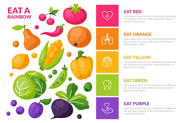 Infografía con diferentes alimentos saludables.