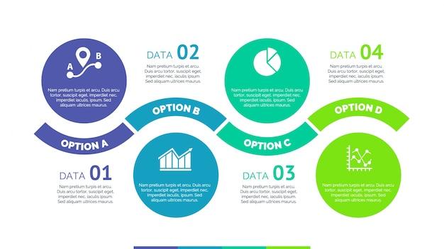 Infografía con diseño de círculos y opciones