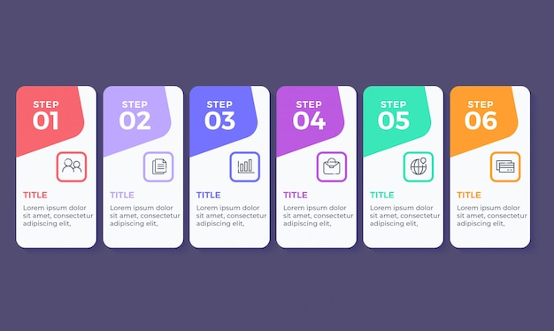 Infografía de diseño plano con 6 pasos de opciones