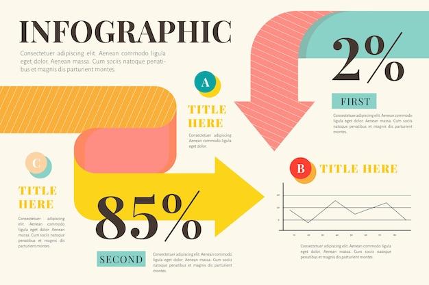 Infografía con diseño plano de colores retro