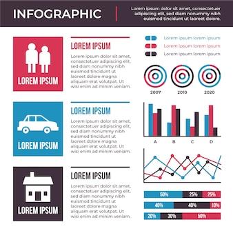 Infografía de diseño plano con concepto de colores retro