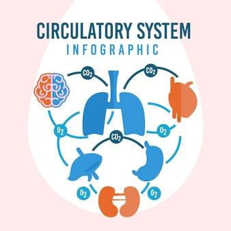 Infografía de diseño plano del sistema circulatorio.