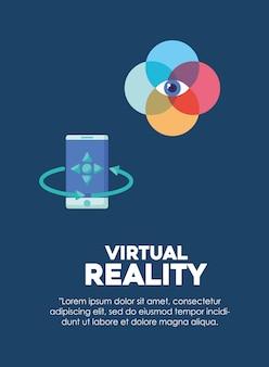 Infografía de diseño de realidad virtual con el icono de teléfono inteligente