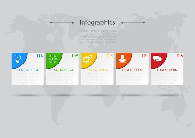 Infografía diseño vectorial concepto de negocio pasos o procesos pueden utilizarse para el diseño de flujo de trabajo, diagrama, informe anual, diseño web