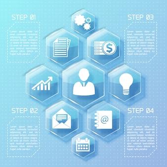 Infografía de diseño web empresarial con iconos blancos de hexágonos de vidrio y cuatro opciones de ilustración