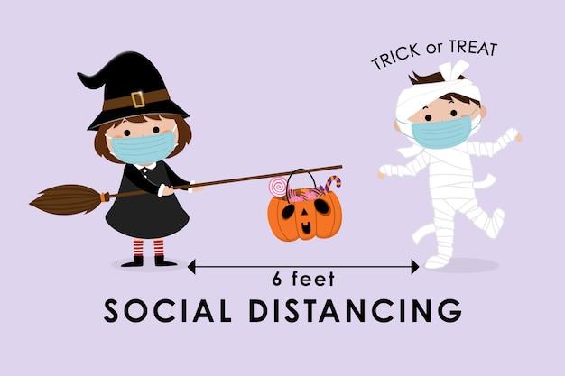 Infografía de distanciamiento social con lindo personaje de dibujos animados de halloween