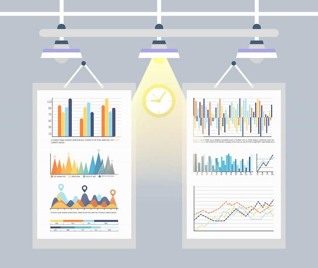 Infografía e inforcharts, conjunto de gráficos de negocios