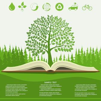 Infografía de ecología con árbol verde y libro abierto.