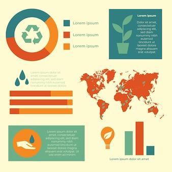 Infografía de ecología con mapa mundial