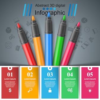 Infografía de educación. cinco artículos de infografía.