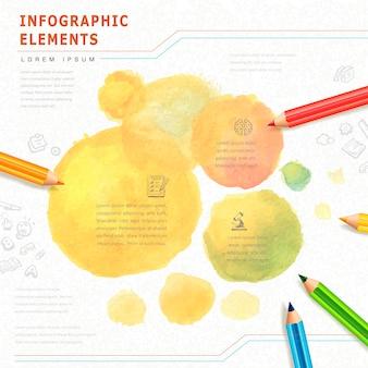 Infografía de educación de estilo acuarela con elemento de lápices de colores