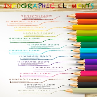 Infografía de educación con lápices de colores dibujando líneas sobre papel blanco