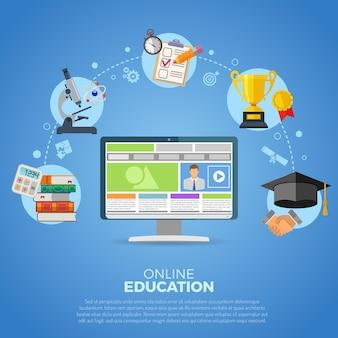 Infografía de educación en línea con conjunto de iconos planos para folleto