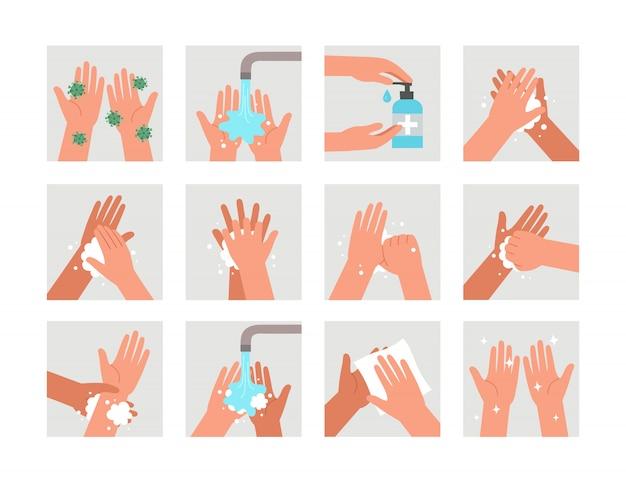 La infografía educativa de atención médica muestra pasos de cómo lavarse las manos. lávese las manos. higiene personal. protección contra virus y bacterias.