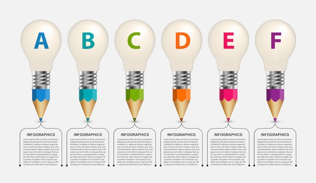 Infografía educativa, lápices con una bombilla en la parte superior.