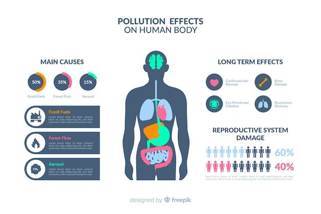 Infografía de los efectos de la contaminación en el cuerpo humano.