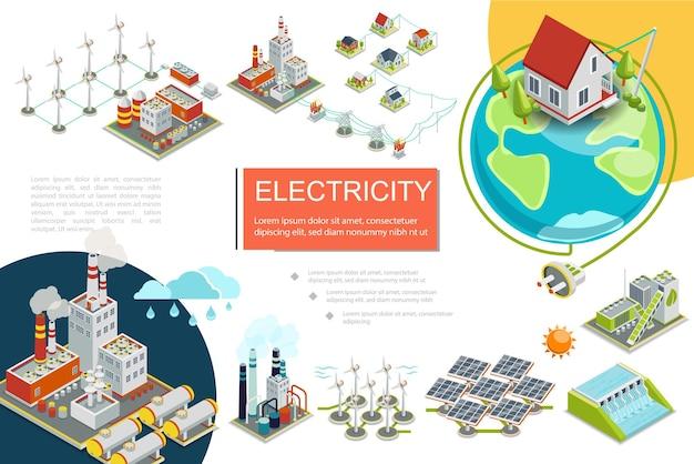 Infografía de electricidad isométrica con combustible plantas de energía nuclear hidroeléctrica geotérmica fábrica de energía de biomasa molinos de viento línea de transmisión eléctrica paneles solares ilustración