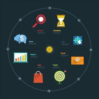 Infografía y elemento de icono empresarial conectan el estilo de vida para el diseño o el gráfico.