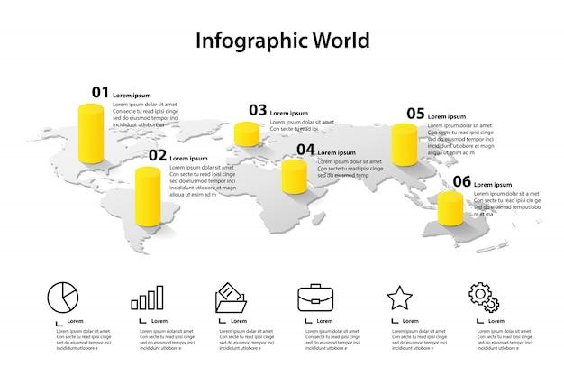 Infografía del elemento del mapa mundial, información empresarial del gráfico de información