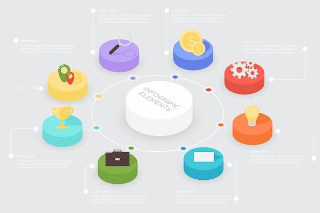 Infografía de elementos de color con iconos