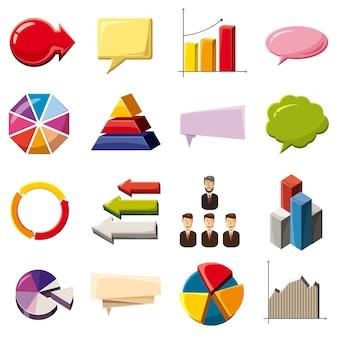 Infografía elementos conjunto de iconos, estilo de dibujos animados
