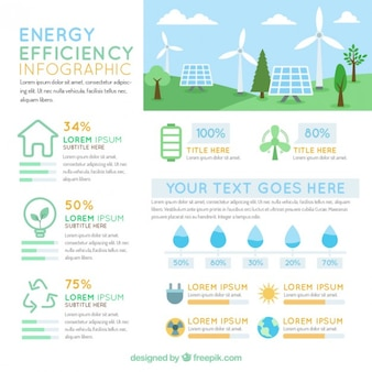 Infografía con elementos de eficiencia enérgica