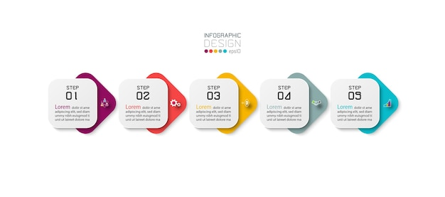 Infografía empresarial con 5 pasos.