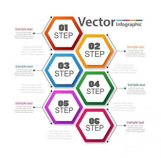 Infografía empresarial con 6 pasos.