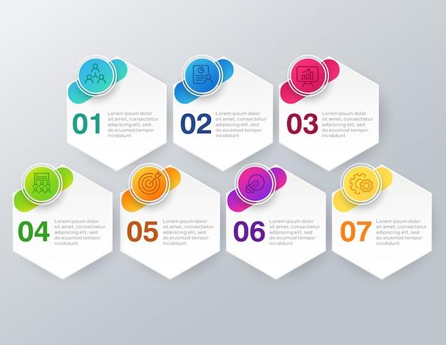 Infografía empresarial con 7 pasos u opciones