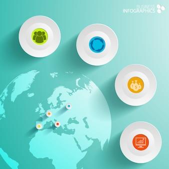 Infografía empresarial abstracta con círculos y mapa