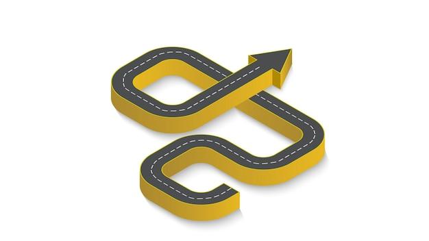 Infografía empresarial abstracta en forma de una carretera de automóvil con marcas viales. eps 10.