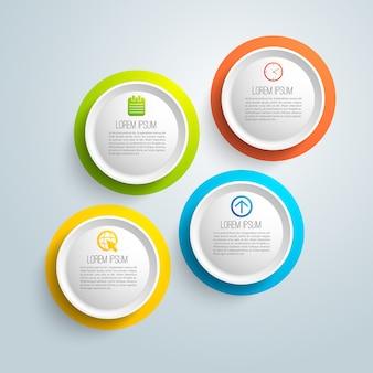 Infografía empresarial con campo de texto en círculos de colores aislados