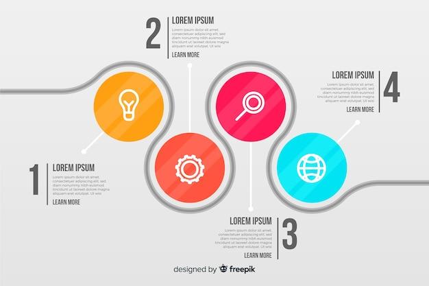 Infografía empresarial con círculos conectados
