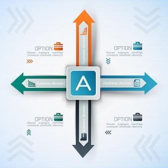 Infografía empresarial con cuadrados y flechas en diferentes direcciones.