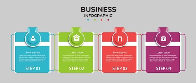 Infografía empresarial con cuatro opciones.