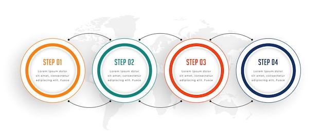 Infografía empresarial de cuatro pasos en estilo circular.