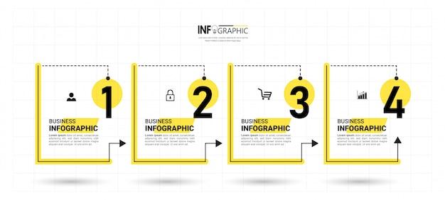 Infografía empresarial con cuatro pasos.