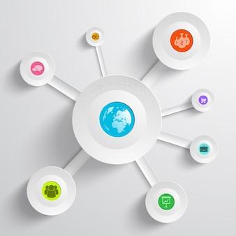 Infografía empresarial con diagrama circular