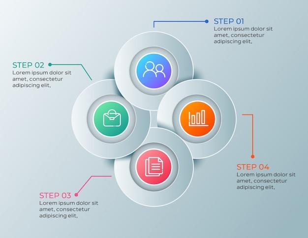Infografía empresarial moderna con 4 pasos