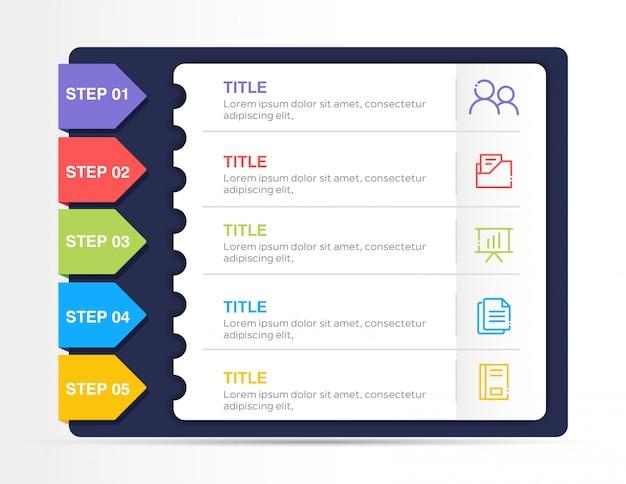 Infografía empresarial moderna con 5 pasos