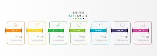 Infografía empresarial moderna con 7 pasos u opciones