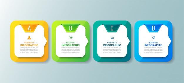 Infografía empresarial moderna con cuatro pasos